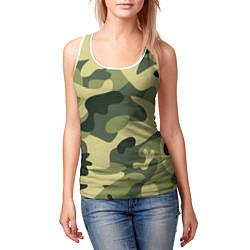 Майка-безрукавка женская Камуфляж: зеленый/хаки цвета 3D-белый — фото 2