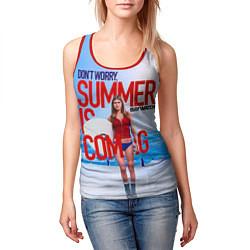 Майка-безрукавка женская Summer is coming цвета 3D-красный — фото 2