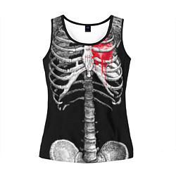 Майка-безрукавка женская Скелет с сердцем цвета 3D-черный — фото 1