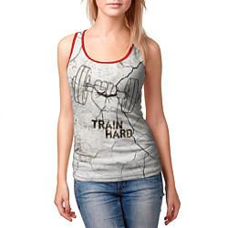 Майка-безрукавка женская Train hard цвета 3D-красный — фото 2