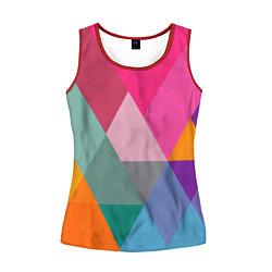 Майка-безрукавка женская Разноцветные полигоны цвета 3D-красный — фото 1