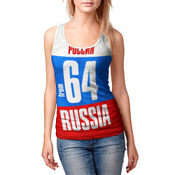 Майка-безрукавка женская Russia: from 64 цвета 3D-белый — фото 2