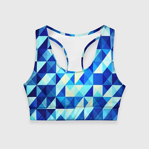 Женский спортивный топ Синяя геометрия / 3D – фото 1