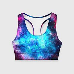 Топик спортивный женский Голубая вселенная цвета 3D — фото 1