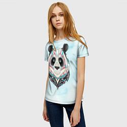 Футболка женская Расписная голова панды цвета 3D — фото 2