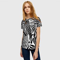 Футболка женская Полосатая зебра цвета 3D-принт — фото 2