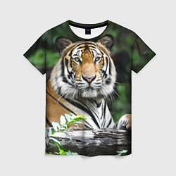 Футболка женская Тигр в джунглях цвета 3D — фото 1