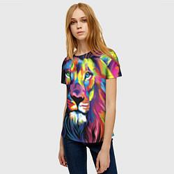 Футболка женская Красочный лев цвета 3D-принт — фото 2