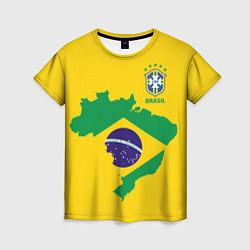 Футболка женская Сборная Бразилии: желтая цвета 3D-принт — фото 1