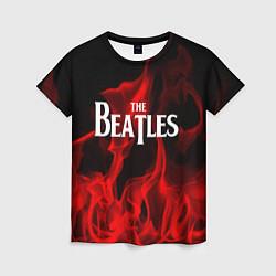 Футболка женская The Beatles: Red Flame цвета 3D-принт — фото 1