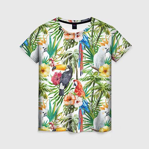Женская футболка Попугаи в тропиках / 3D – фото 1