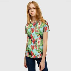Женская 3D-футболка с принтом Туканы в тропиках, цвет: 3D, артикул: 10065277703229 — фото 2