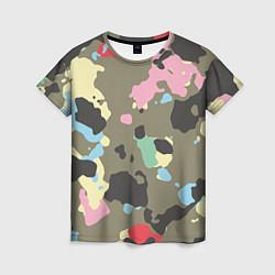 Женская 3D-футболка с принтом Камуфляж: микс цветов, цвет: 3D, артикул: 10071668003229 — фото 1