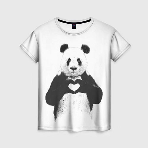 Женская футболка Panda Love / 3D – фото 1
