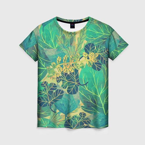 Женская футболка Узор из листьев / 3D – фото 1