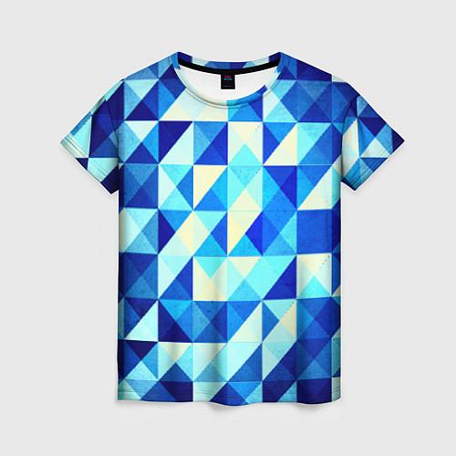 Женская футболка Синяя геометрия / 3D – фото 1