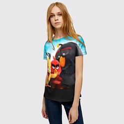 Женская 3D-футболка с принтом Любящие птицы, цвет: 3D, артикул: 10092032603229 — фото 2