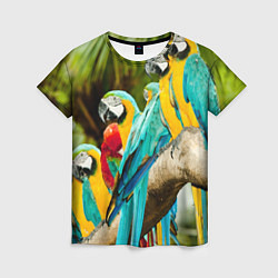 Женская 3D-футболка с принтом Попугаи на ветке, цвет: 3D, артикул: 10095842603229 — фото 1