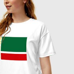 Футболка оверсайз женская Чечня: флаг цвета белый — фото 2