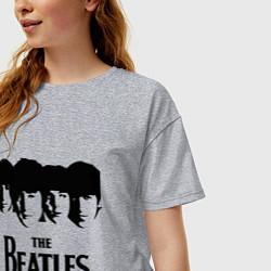 Футболка оверсайз женская The Beatles: Faces цвета меланж — фото 2