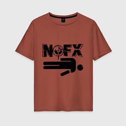 Футболка оверсайз женская NOFX crushman цвета кирпичный — фото 1