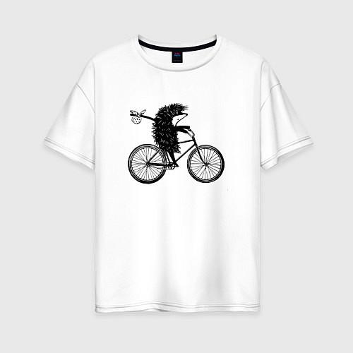 Женская футболка оверсайз Ежик на велосипеде / Белый – фото 1