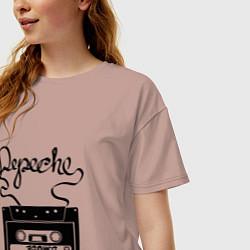 Футболка оверсайз женская Depeche Mode: Tape цвета пыльно-розовый — фото 2