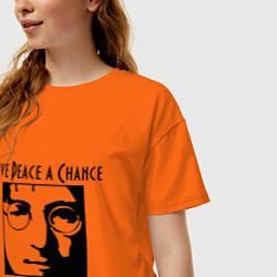 Футболка оверсайз женская Give Peace a Chance цвета оранжевый — фото 2