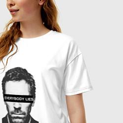 Футболка оверсайз женская Everyboy Lies цвета белый — фото 2
