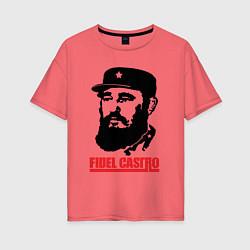 Футболка оверсайз женская Fidel Castro цвета коралловый — фото 1