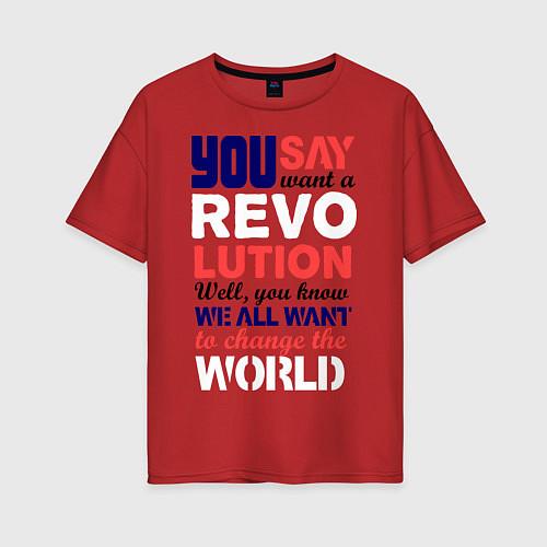 Женская футболка оверсайз The Beatles Revolution / Красный – фото 1