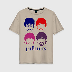 Женская футболка оверсайз The Beatles faces