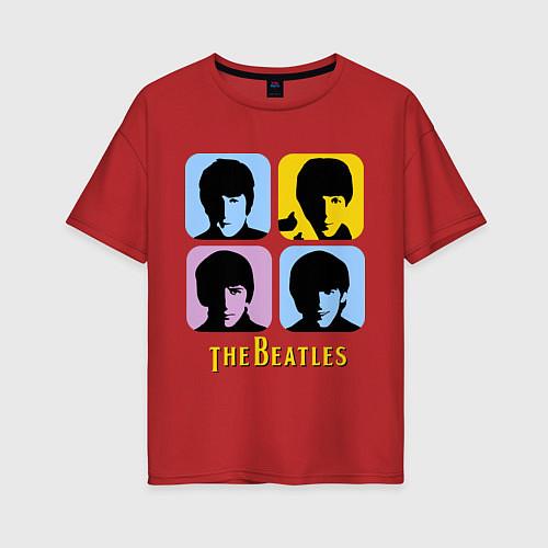 Женская футболка оверсайз The Beatles: pop-art / Красный – фото 1