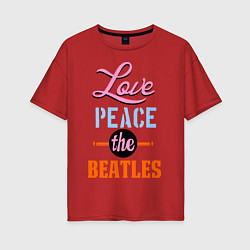 Футболка оверсайз женская Love peace the Beatles цвета красный — фото 1