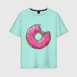 Футболка оверсайз женская Пончик Гомера цвета мятный — фото 1