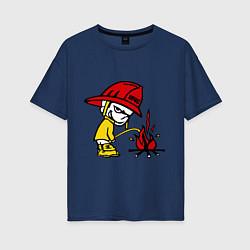 Футболка оверсайз женская Ручной пожарник цвета тёмно-синий — фото 1
