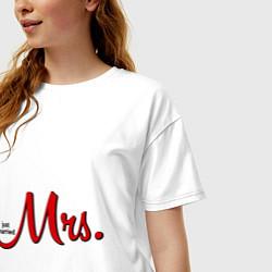 Футболка оверсайз женская Mrs: Just married цвета белый — фото 2