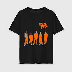 Футболка оверсайз женская Misfits Orange цвета черный — фото 1
