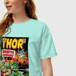 Футболка оверсайз женская Thor vs Loki цвета мятный — фото 2