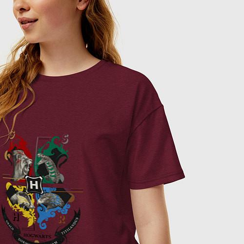 Женская футболка оверсайз Гарри Поттер / Меланж-бордовый – фото 3