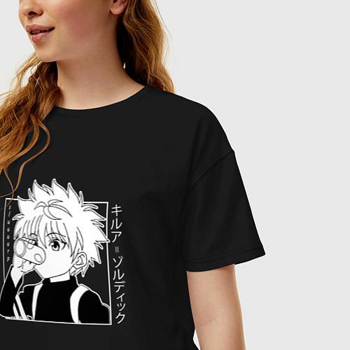 Женская футболка оверсайз Killua Hunter x Hunter Киллуа / Черный – фото 3