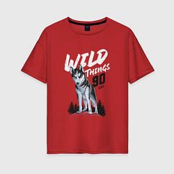 Футболка оверсайз женская Волк цвета красный — фото 1