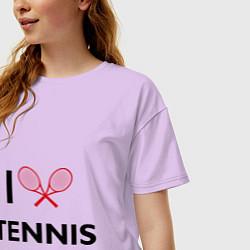 Футболка оверсайз женская I Love Tennis цвета лаванда — фото 2