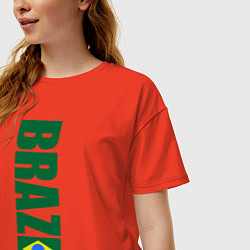 Футболка оверсайз женская Brazil Football цвета рябиновый — фото 2