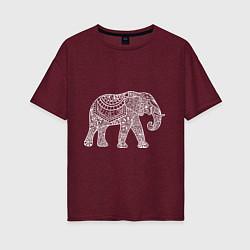 Футболка оверсайз женская Расписной слон цвета меланж-бордовый — фото 1