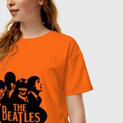 Футболка оверсайз женская The Beatles Band цвета оранжевый — фото 2