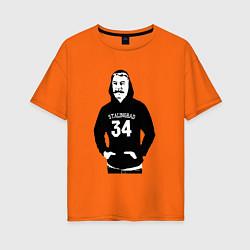 Футболка оверсайз женская Stalingrad 34 цвета оранжевый — фото 1