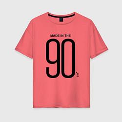Футболка оверсайз женская Made in 90 цвета коралловый — фото 1