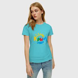 Футболка хлопковая женская Крым цвета бирюзовый — фото 2