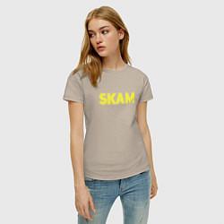Футболка хлопковая женская Skam цвета миндальный — фото 2